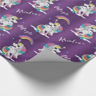 Purple Unicorn Magic Wrapping Paper