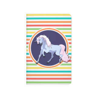 Purple Unicorn on Bright Rainbow Stripes Journal