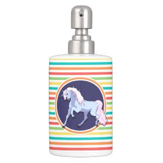 Purple Unicorn on Bright Rainbow Stripes Bath Set