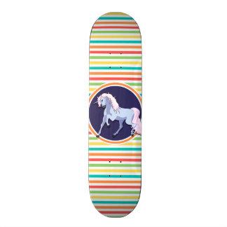 Purple Unicorn on Bright Rainbow Stripes Skateboard