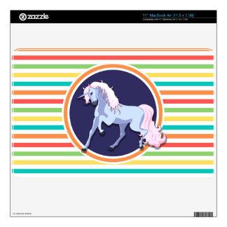 Purple Unicorn on Bright Rainbow Stripes Skin For The MacBook