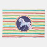 Purple Unicorn on Bright Rainbow Stripes Towels
