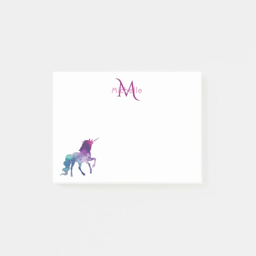 Purple unicorn on white monogrammed