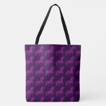 Purple Unicorn Silhouette Pattern Trendy Stylish Tote Bag