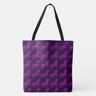 Purple Unicorn Silhouette Pattern Trendy Stylish Tote Bag