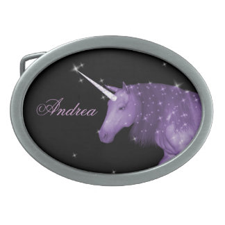 Purple Unicorn Sparkles Oval Belt Buckles