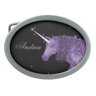 Purple Unicorn Sparkles Oval Belt Buckle