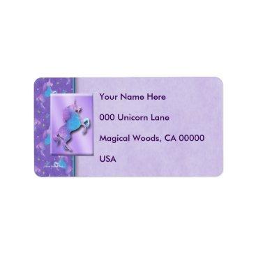 linda_mn Purple Unicorns Pink Stars Label