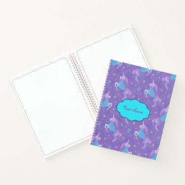 Beach Themed Purple Unicorns Pink Stars Notebook
