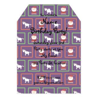 Purple unicorns santa claus pattern 5x7 paper invitation card