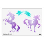 Purple Unicorns with Stars and Moons Wall Decal