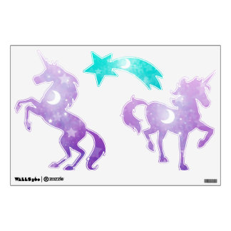 Purple Unicorns with Stars and Moons Wall Sticker