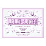 Purple Unique Vintage Bridal Shower Invitations