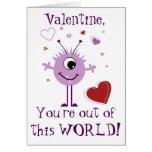 Purple Valentine Alien Monster Card