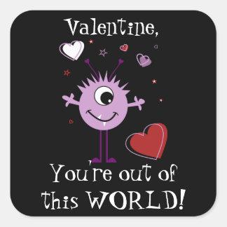 Purple Valentine Alien Monster Card Square Sticker