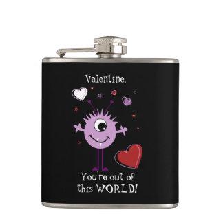 Purple Valentine Alien Monster Hip Flask