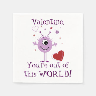 Purple Valentine Alien Monster Paper Napkin