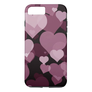 Purple Valentine Hearts Tough iPhone 7 Plus Case
