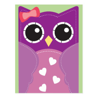 Purple Valentine Owl Classroom Cards for Kids