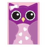 Purple Valentine Owl Classroom Cards for Kids