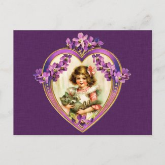 Purple Valentine's Day Postcard