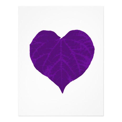 Purple Valentine's Heart Leaf Letterhead