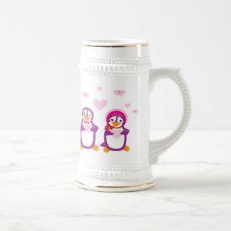 Purple Valentine's Penguins Stein/Mug Beer Stein