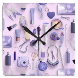Purple Vanity Table Square Wall Clock