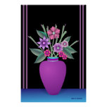 Purple Vase With Colorful Flowers Poster