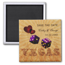 purple Vegas Vintage save the date magnets