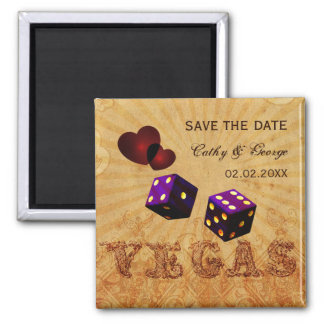purple Vegas Vintage save the date magnets