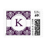 Purple Velvet Monogram Wedding Stamp