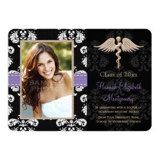 "Purple Vet School Graduation Announcements Invites 5"" X 7"" Invitation Card"