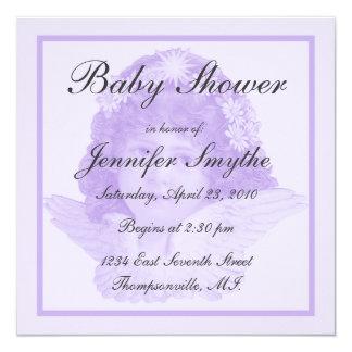 """Purple Victorian Angel Baby Shower Invitation 5.25"""" Square Invitation Card"""