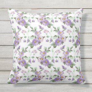 Purple Victorian floral outdoor throw pillow