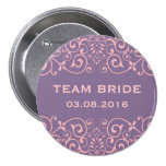 Purple Victorian Floral Swirl Team Bride Button