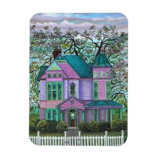 Purple Victorian House Pumpkins Wagon Fall Trees Magnet
