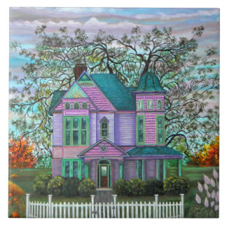 Purple Victorian House Pumpkins Wagon Fall Trees Tile