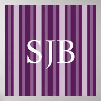 Purple Victorian Lady Stripe with Monogram Poster