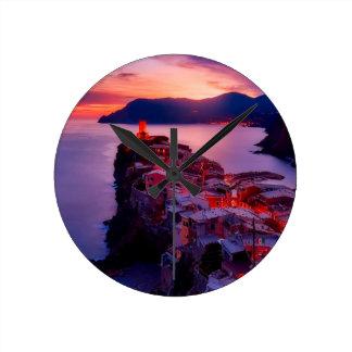 Purple Village Round Clock