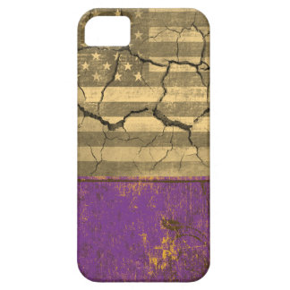 Purple vintage and American flag cracked wall iPhone SE/5/5s Case