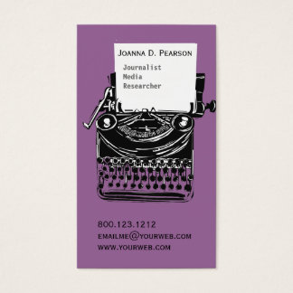 Purple Vintage Antique Artistic Typewriter Writer Business Card