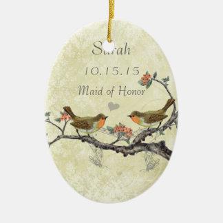 Purple Vintage Bird Maid of Honor Ornaments