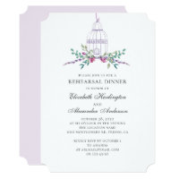 Purple vintage birdcage. Floral rehearsal dinner Invitation