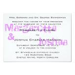 """Purple Vintage Brick Graffiti Wedding Invitation 5"""" X 7"""" Invitation Card"""