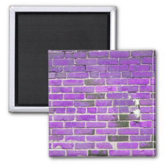 Purple Vintage Brick Wall Texture 2 Inch Square Magnet
