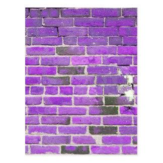 Purple Vintage Brick Wall Texture Postcard