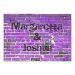 """Purple Vintage Brick Wall Wedding Invitation RSVP 3.5"""" X 5"""" Invitation Card"""