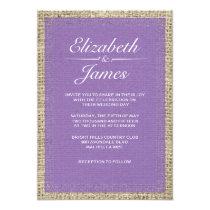 Purple Vintage Burlap Wedding Invitations