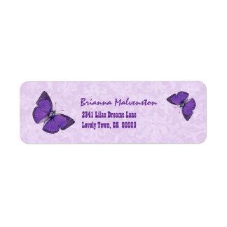Purple Vintage Butterflies V002 Return Address Label